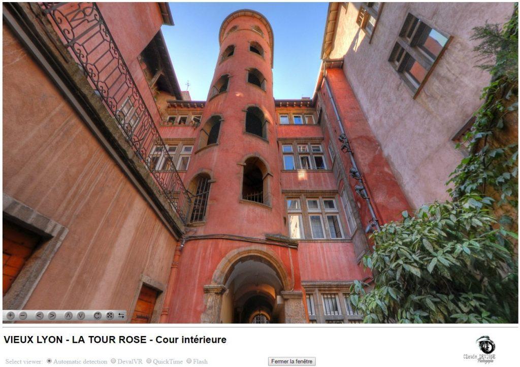 Copie écran pour accéder à la vue panoramique de la Tour Rose de Lyon